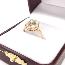 ESTATE OPAL AND DIAMOND STYLIZED FLOWER RING