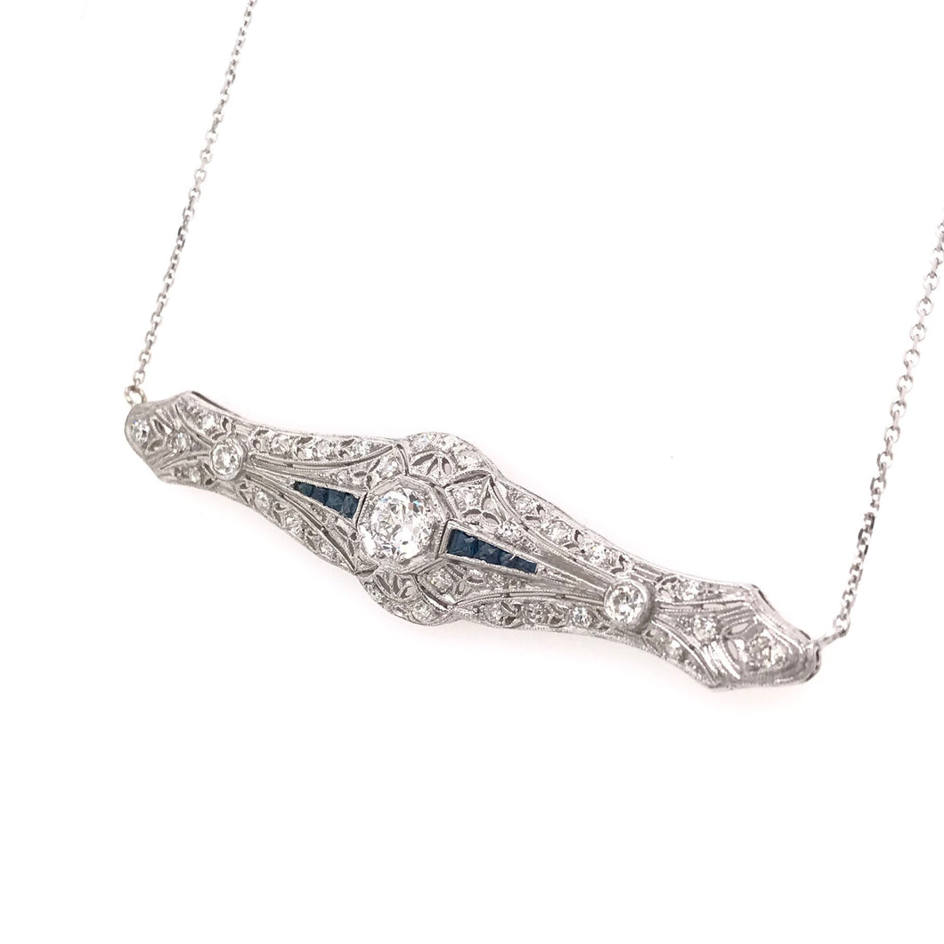 ANTIQUE 0.65 CARAT DIAMOND SAPPHIRE AND PLATINUM FILIGREE NECKLACE