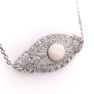 ART NOUVEAU WHITE OPAL AND DIAMOND PLATINUM NECKLACE