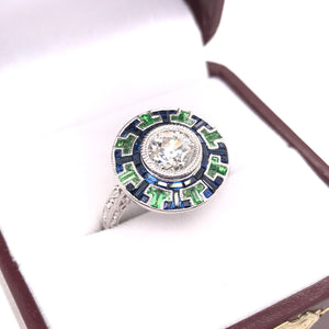 ANTIQUE STYLE DIAMOND AND SAPPHIRE RING