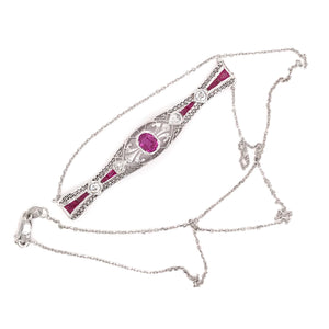 ANTIQUE RUBY AND DIAMOND BAR PIN NECKLACE