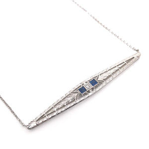 ART DECO DIAMOND AND SAPPHIRE NECKLACE