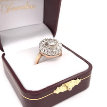 ANTIQUE WHITE AND YELLOW GOLD DIAMOND RING