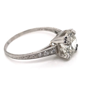 ANTIQUE 2.14 CARAT DIAMOND AND PLATINUM SOLITAIRE RING