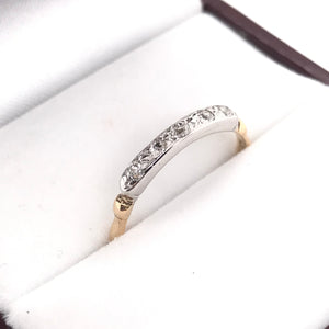 MID CENTURY TWO TONED GOLD AND DIAMOND BAND