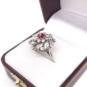 RETRO RUBY AND DIAMOND CLUSTER RING