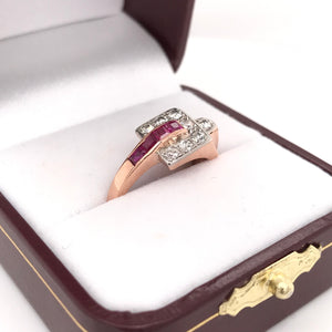 RETRO RUBY DIAMOND AND ROSE GOLD RING