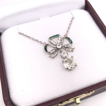 EDWARDIAN DIAMOND AND EMERALD GARLAND NECKLACE