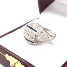ART DECO PLATINUM DIAMOND AND SAPPHIRE FILIGREE DOME RING