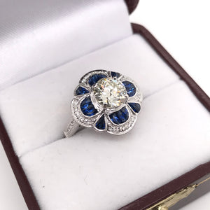 ANTIQUE INSPIRED 1.25 CARAT DIAMOND AND SAPPHIRE RING