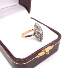 ANTIQUE TWO TONED DIAMOND FILIGREE RING