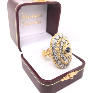 GRAND TWO GOLD TONE DIAMOND AND SAPPHIRE RING