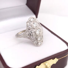 DIAMOND AND GREEK KEY FILIGREE DINNER RING