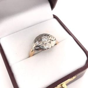 MID CENTURY TWO TONE DIAMOND RING