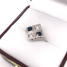 ART DECO DIAMOND AND SAPPHIRE STYLIZED SALTIRE RING