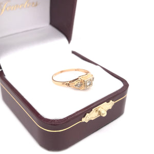 PETITE ART DECO GOLD AND DIAMOND RING