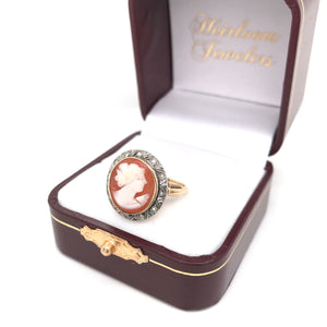 VICTORIAN 14K GOLD SILVER DIAMOND AND CAMEO RING