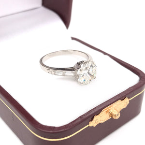 ART DECO DESIGNER 2.00 CARAT DIAMOND SOLITAIRE STYLE RING
