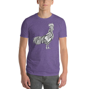 White Rooster designer line art t-shirt | Vegan 4 Life by HIPPHOP