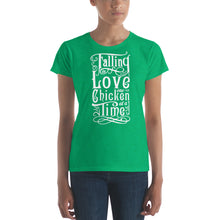 """Falling in Love One Chicken at a Time"" women's t-shirt 