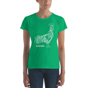 Stylized Vegan Rooster women's t-shirt | Vegan 4 Life by HIPPHOP