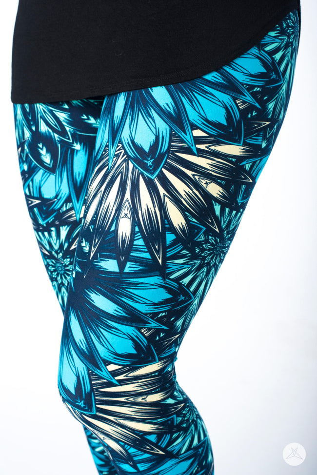Aqua Bloom Petite leggings - SweetLegs