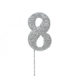 Silver Number Glitter Picks