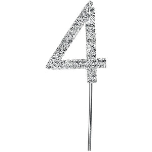 Silver Diamanté Numbers on Stem