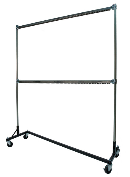 Ovenproof Rolling Rack, Painting, Powder Coating, 6-ft Base, 7-ft Uprights, 2 Hang Rails