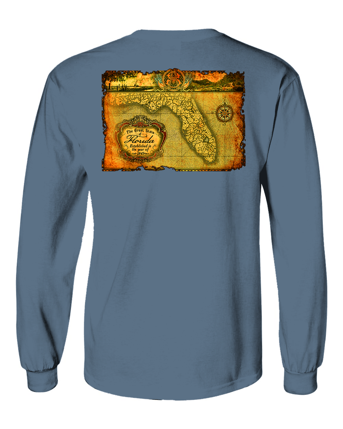 American South -Antique Map ~ Florida-Long sleeve Tee