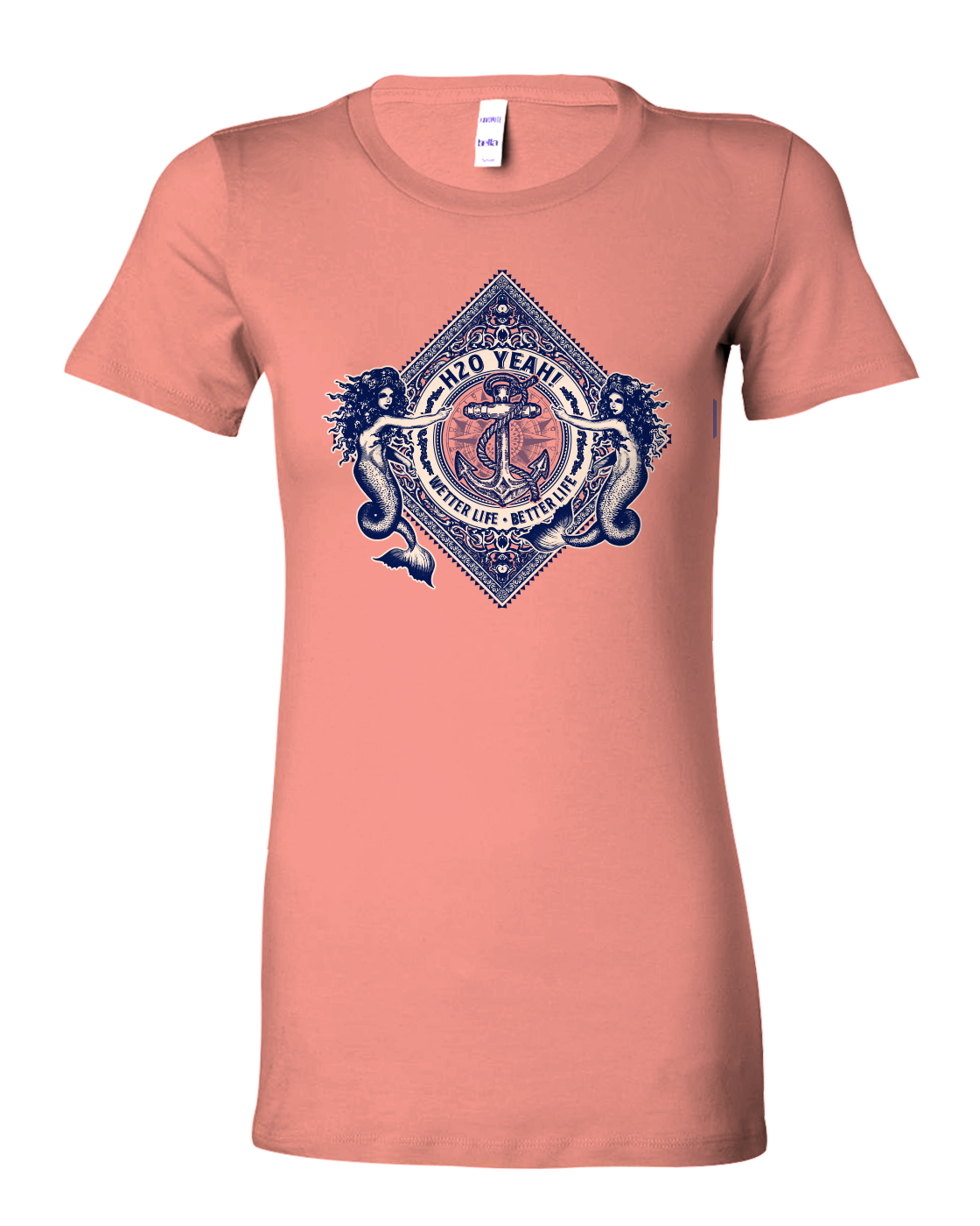 H2o Yeah! Women's Mermaid Diamond ~ Anchor tee