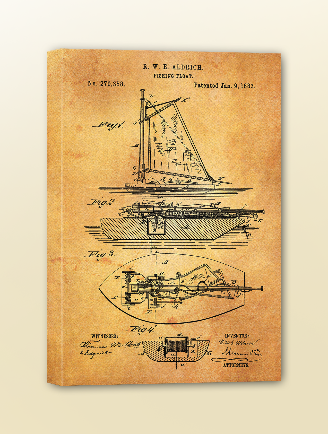 Antique Patent Drawing: Fishing Float