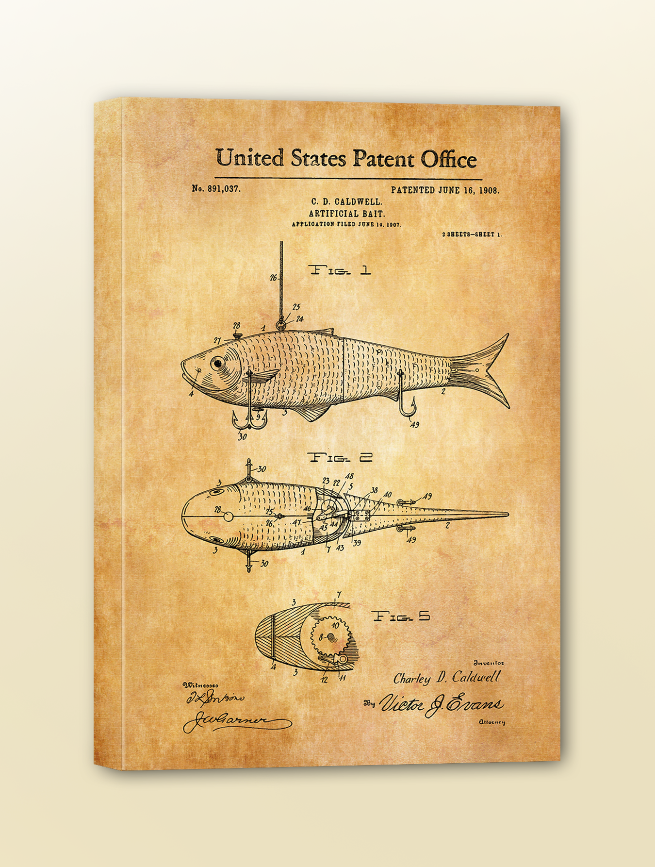 Antique Patent Print: Fishing Lure