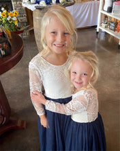 2BUNNIES Girl Rose Lace Back Long Sleeve Maxi Straight Dress (Navy)