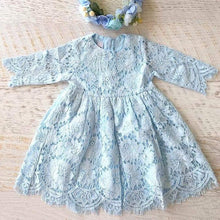 2BUNNIES Girl Holly Scallop Lace Flower Girl Dress (Blue)