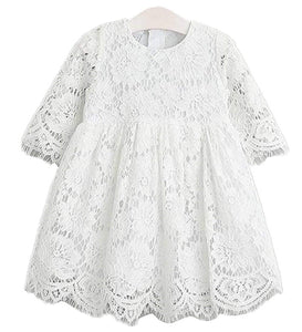 2BUNNIES Girl Holly Scallop Lace Flower Girl Dress (White)
