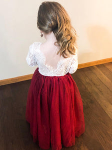2BUNNIES Girl Peony Lace Back Long Sleeve Maxi Straight Dress (Wine Red)