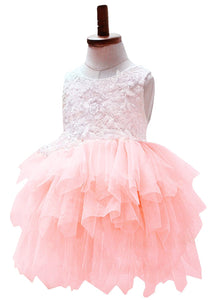 2BUNNIES Girl Peony Lace Back (BEADED) 3 Tiered Sleeveless Knee Length Dress (Pink)