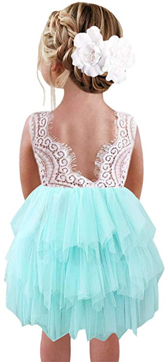 2BUNNIES Girl Peony Lace Back 3 Tiered Sleeveless Knee Length Dress (Mint)