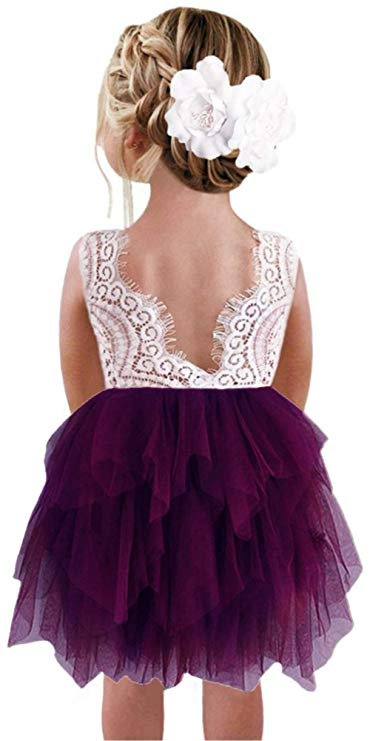 2BUNNIES Girl Peony Lace Back 3 Tiered Sleeveless Knee Length Dress (Plum)