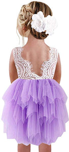 2BUNNIES Girl Peony Lace Back 3 Tiered Sleeveless Knee Length Dress (Purple)