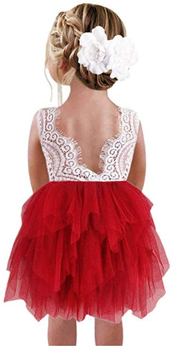 2BUNNIES Girl Peony Lace Back 3 Tiered Sleeveless Knee Length Dress (Red)