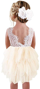 2BUNNIES Girl Peony Lace Back 3 Tiered Sleeveless Knee Length Dress (Ivory)