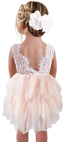 2BUNNIES Girl Peony Lace Back 3 Tiered Sleeveless Knee Length Dress (Pink)