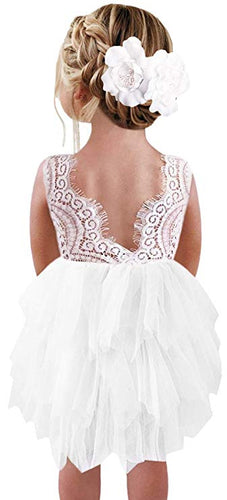 2BUNNIES Girl Peony Lace Back (BEADED) 3 Tiered Sleeveless Knee Length Dress (White)