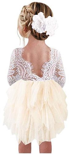 2BUNNIES Girl Peony Lace Back (BEADED) 3 Tiered Long Sleeve Knee Length Dress (Ivory)