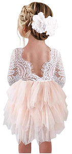 2BUNNIES Girl Peony Lace Back 3 Tiered Long Sleeve Knee Length Dress (Pink)