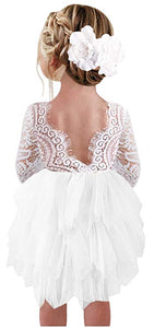 2BUNNIES Girl Peony Lace Back 3 Tiered Long Sleeve Knee Length Dress (White)