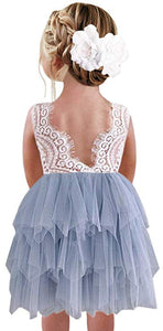 2BUNNIES Girl Peony Lace Back 3 Tiered Sleeveless Knee Length Dress (Bluish Gray)