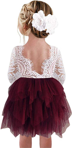 2BUNNIES Girl Peony Lace Back 3 Tiered Long Sleeve Knee Length Dress (Burgundy)